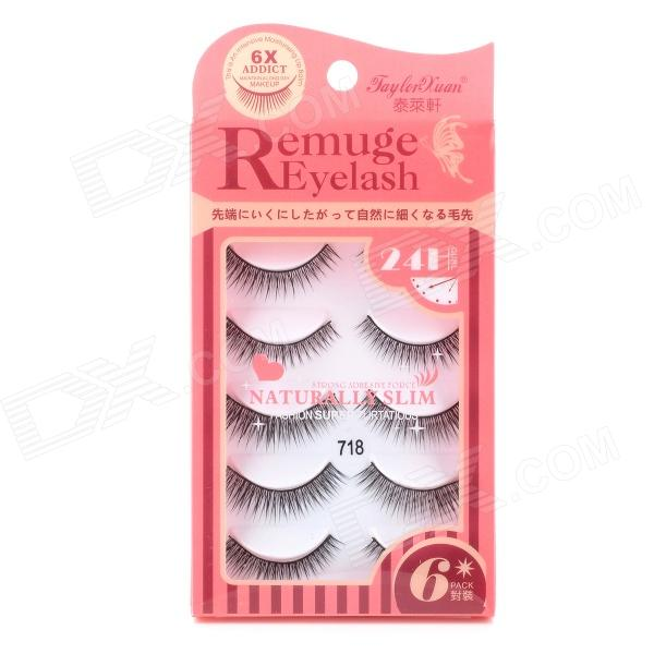Jaylor Xuan 718 Fashionable Makeup Lengthened Artificial Eyelashes - Black (6 Pairs)