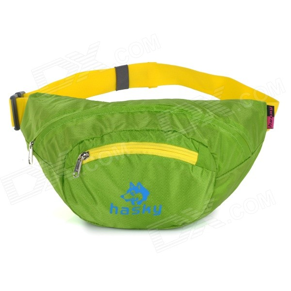 HASKY3000 Water Resistant Nylon Foldable Waist Bag - Green + Yellow