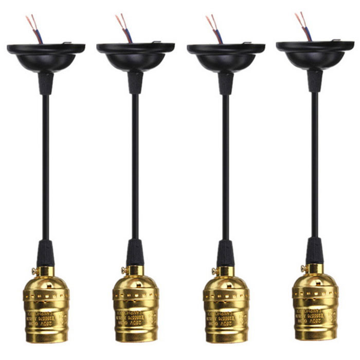 E27 Socket Edison Pendant Lamp Holders w/o Switch - Gold (4PCS)